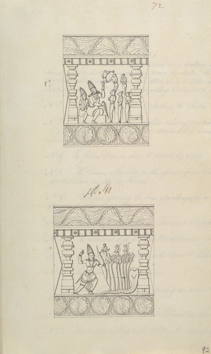 Narrative sculpture on the south side of the Amritesvara Temple at Amritpur, 1805. Details from the Ramayana frieze f.92